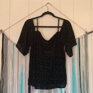 Bailey 44 Isabeli Velvet Cold Shoulder Top Black